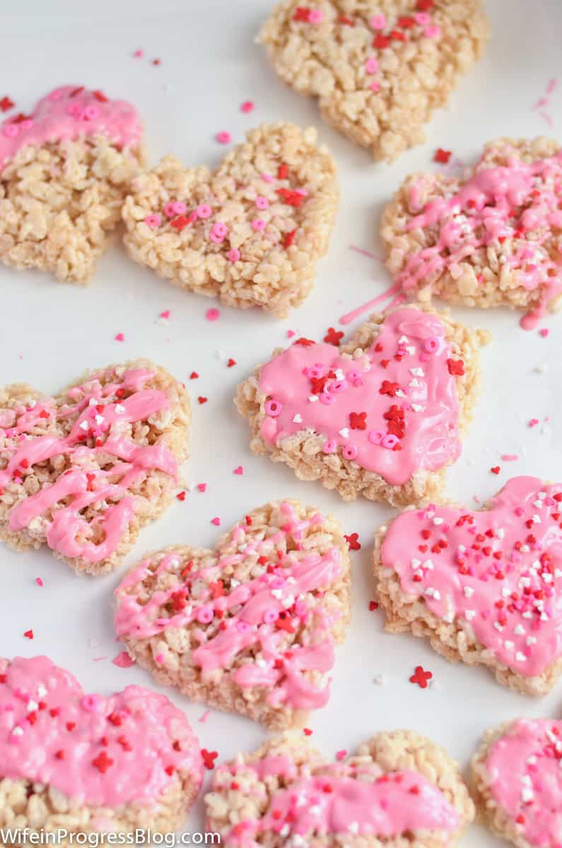 Rice Krispie Treats with pink candy melts and sprinkles