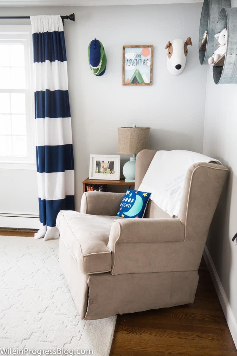 Corner of bedroom painted benjamin moore's stoninggton gray