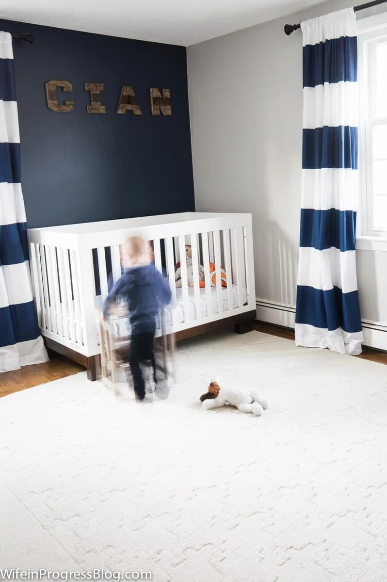nursery ideas, navy blue accent wall Naval by Sherwin Williams