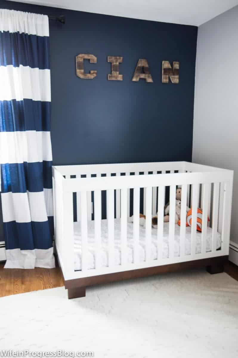 Naval accent wall in baby boy nursery