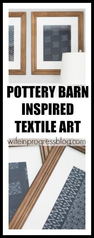 Pottery Barn inspired blue textile art