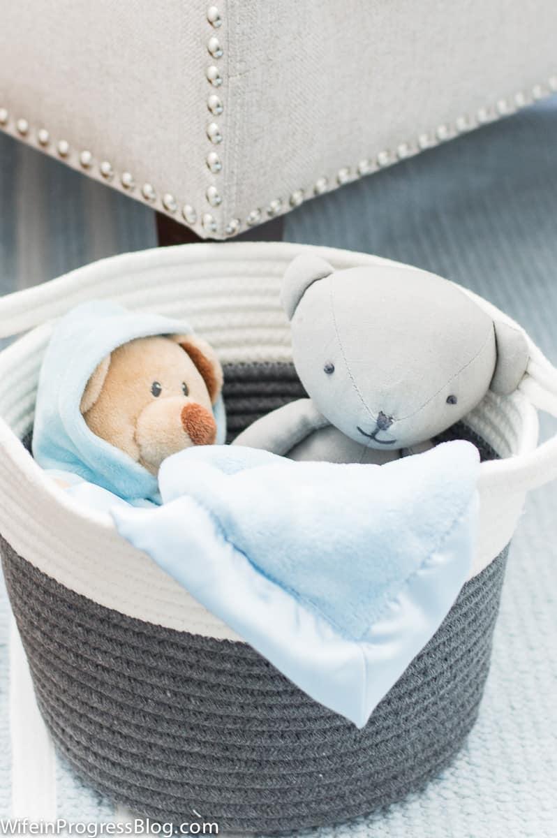 blue and gray baby boy nursery
