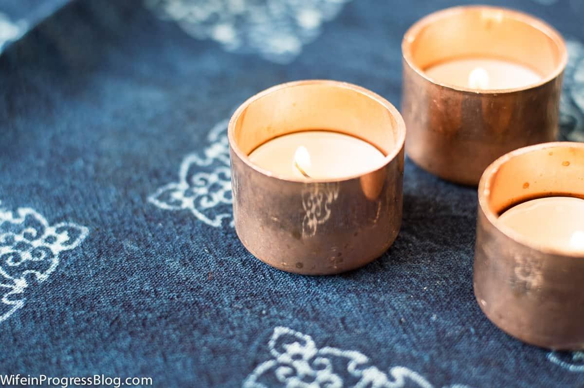 The easiest copper tea light holders!