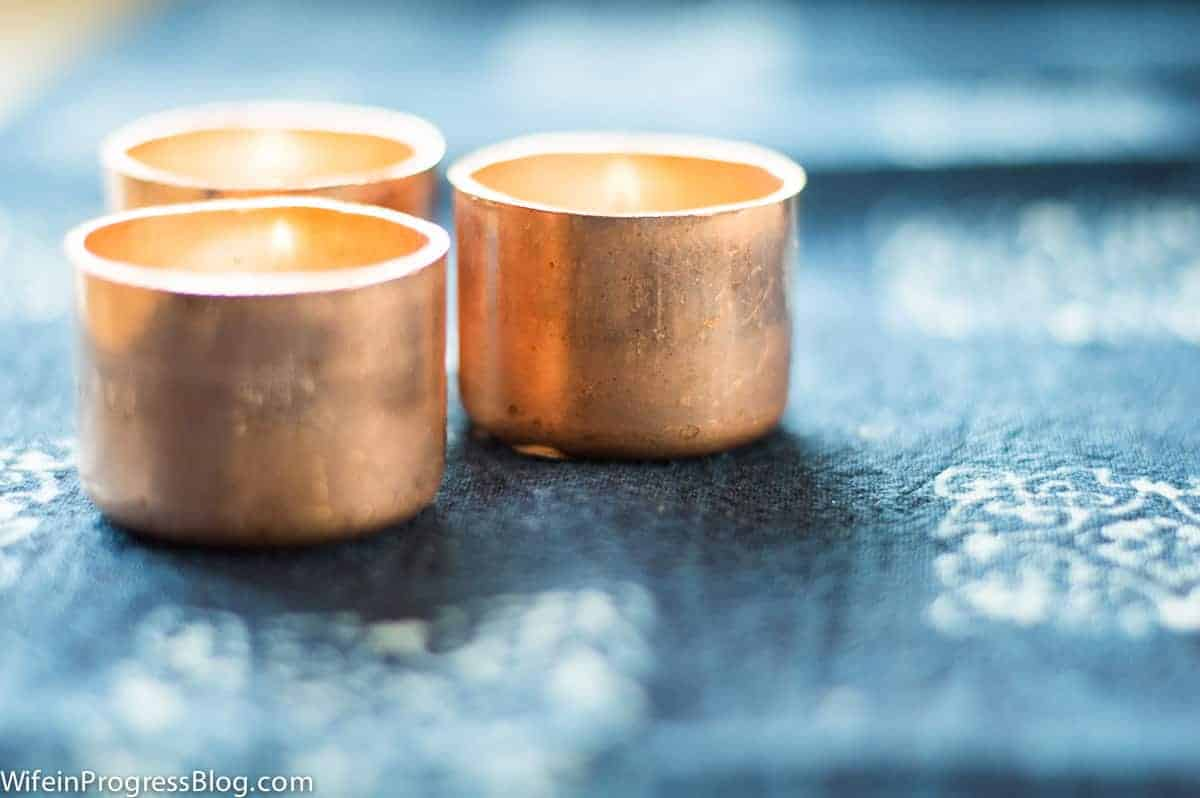DIY copper tealight candle holders