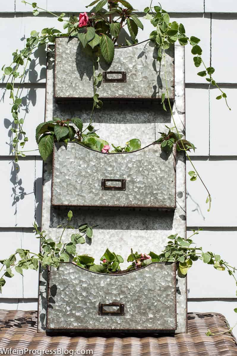 this mail organizer makes a beautiful planter