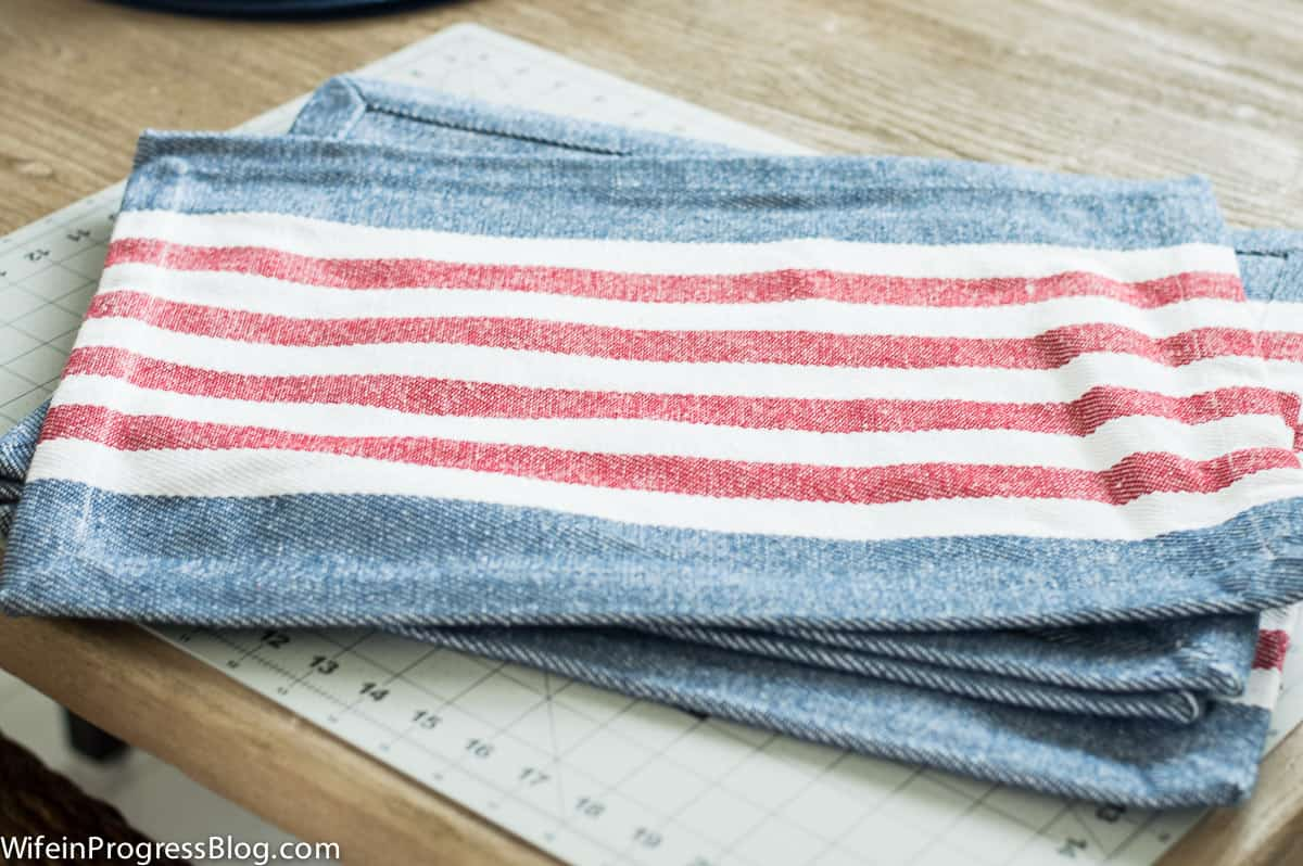 Red, white and blue striped patriotic placemats
