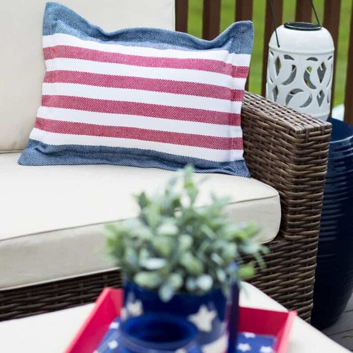 Red, white and blue striped patriotic pillow