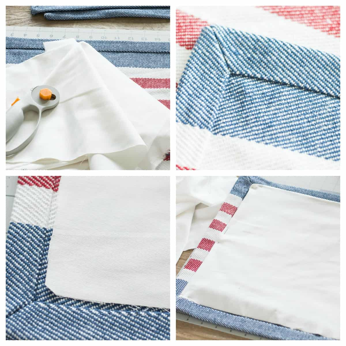 DIY patriotic throw pillow tutorial- cutting white fabric and pinning to underside of placemat