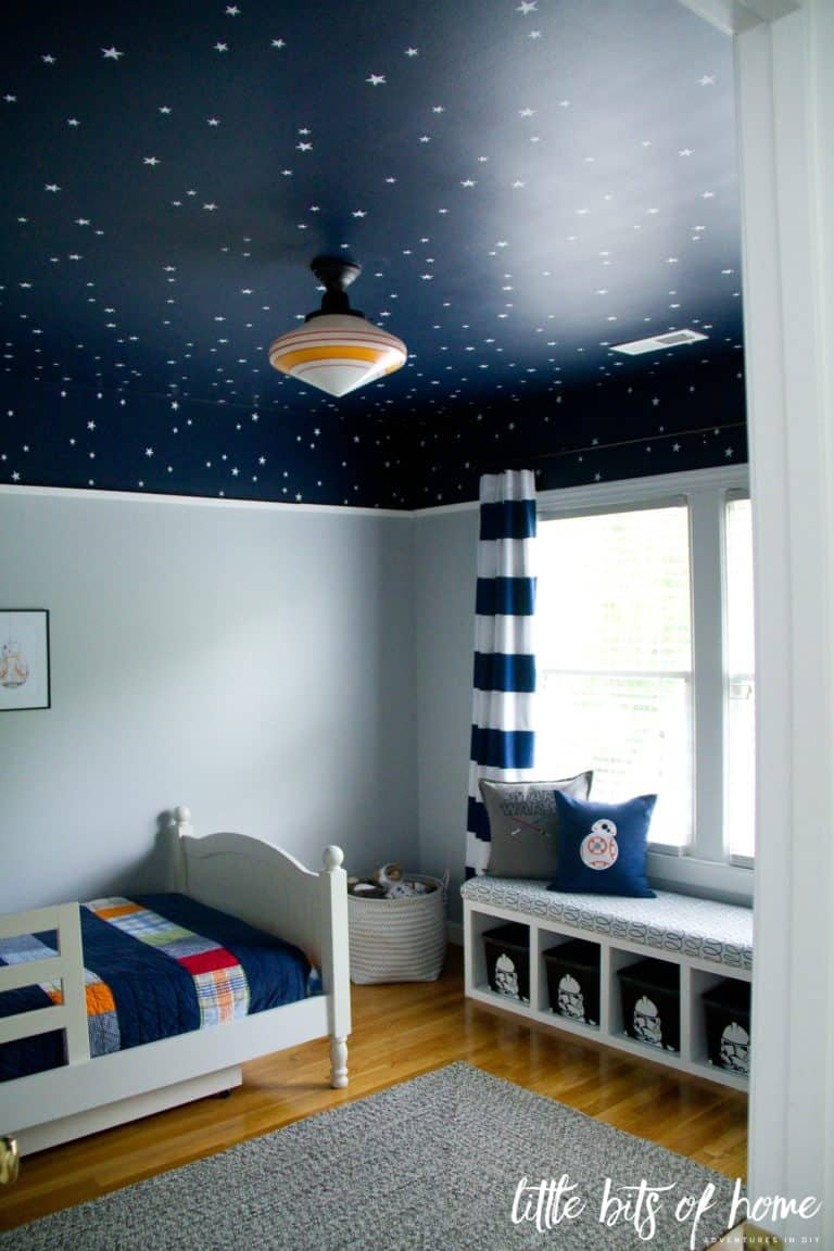 A navy blue ceiling with stars.