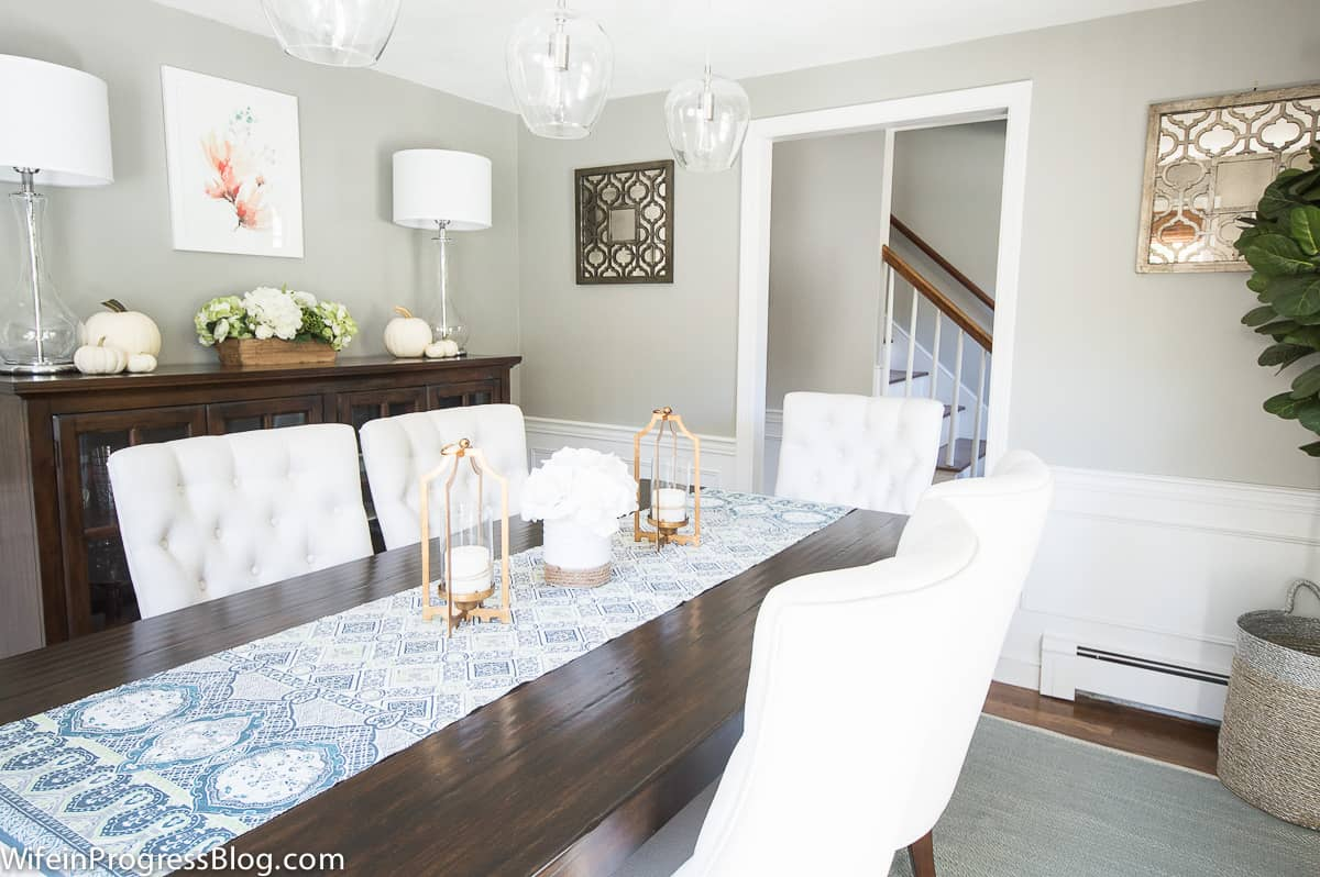 Sherwin Williams Mindful Gray in a dining room