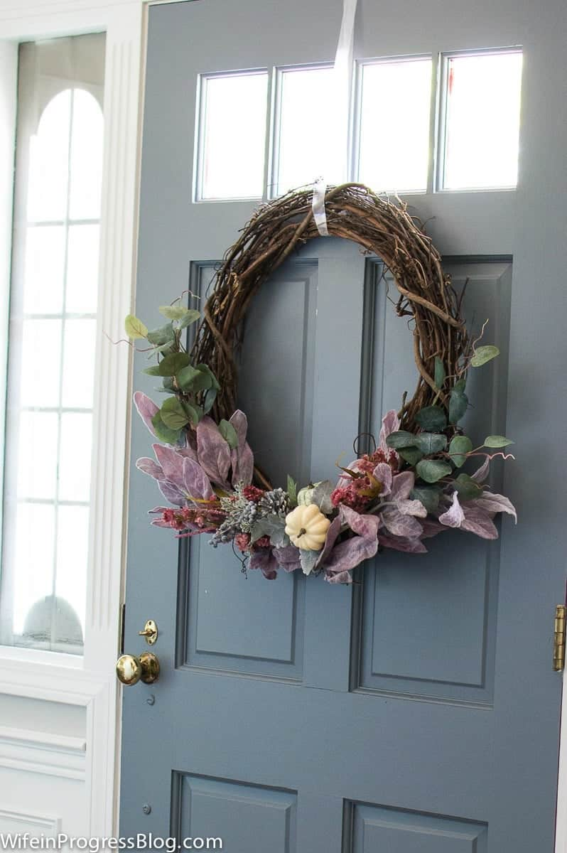 I love this mauve colored fall wreath. It's simple, pretty and rustic