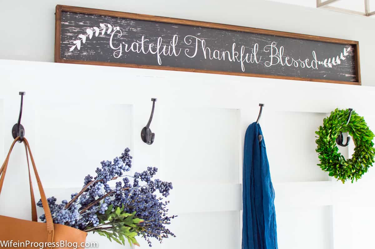 Fall mudroom with a simple board and batten