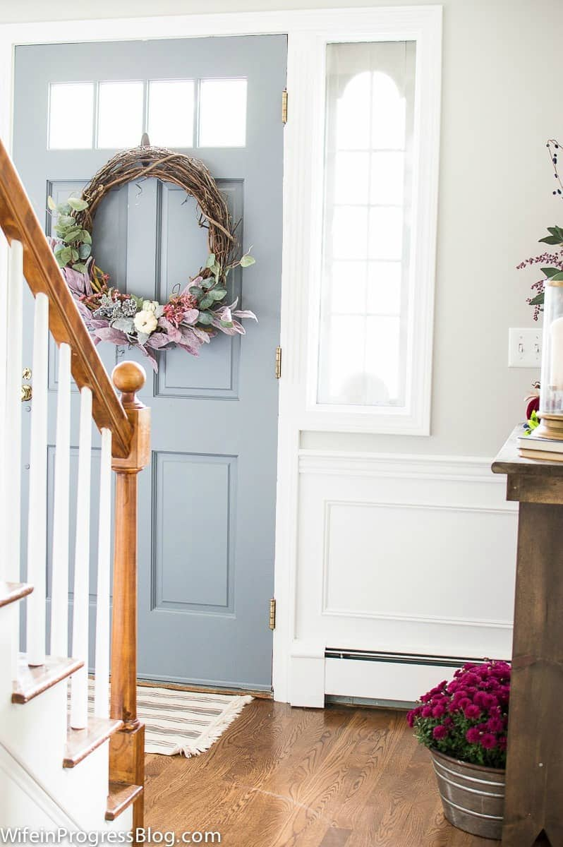 Farmhouse fall home tour. Front door color is Serious Gray by Sherwin Williams