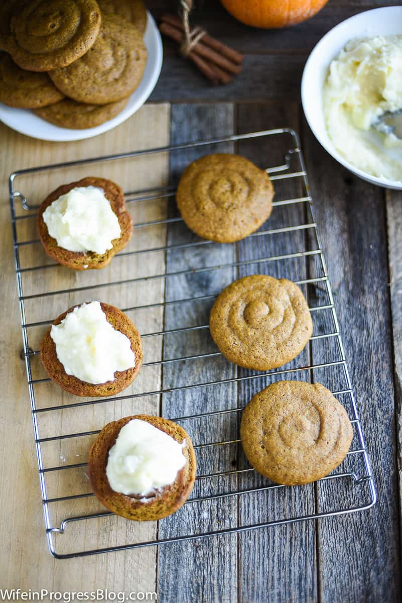 Pipe cream cheese onto each whoopie pie for the filling