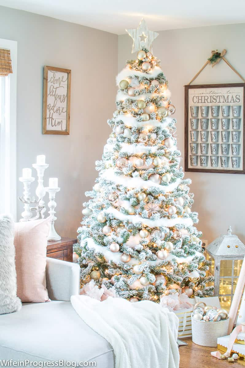 Rose gold and blush pink Christmas tree ornaments