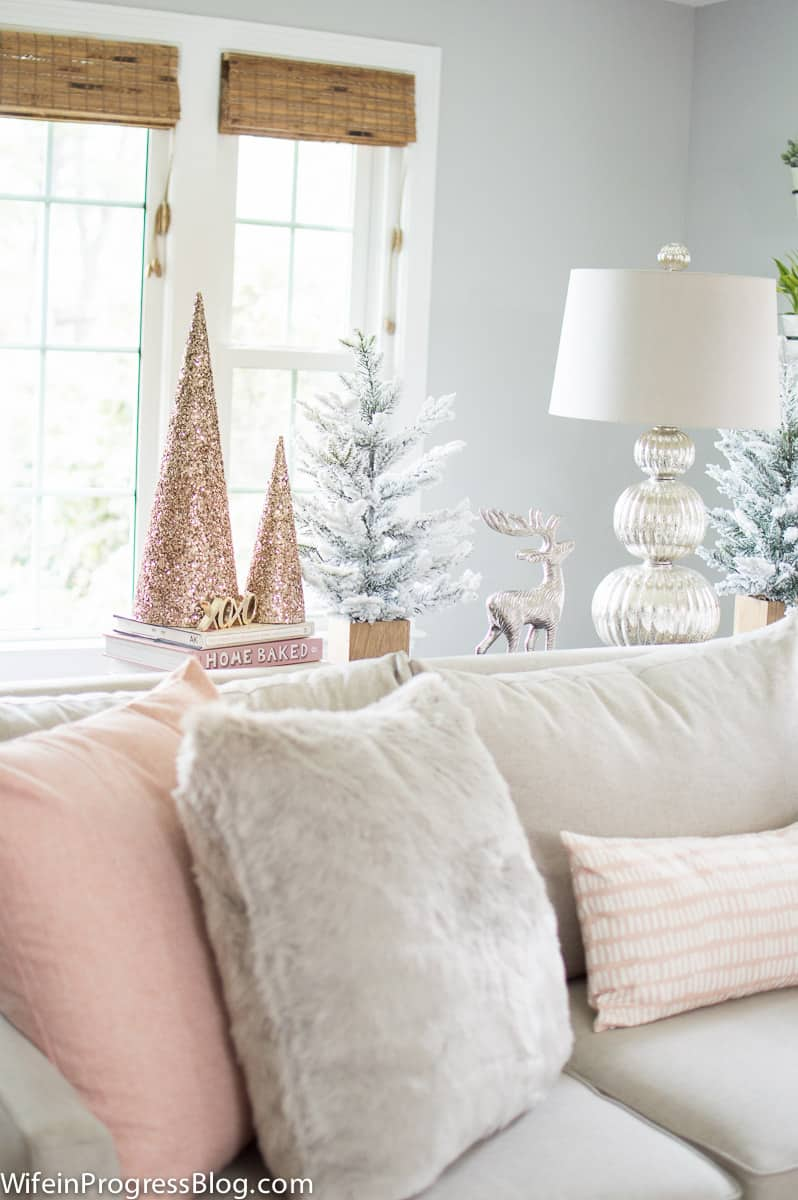 rose gold and pink Christmas decor in the living room
