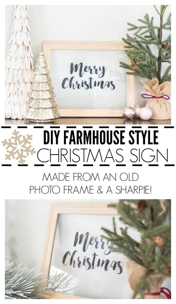 DIY farmhouse style christmas sign