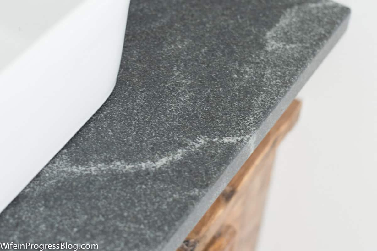 Honed granite is not polished like traditional granite. It is left with a low sheen for a softer, more casual look.