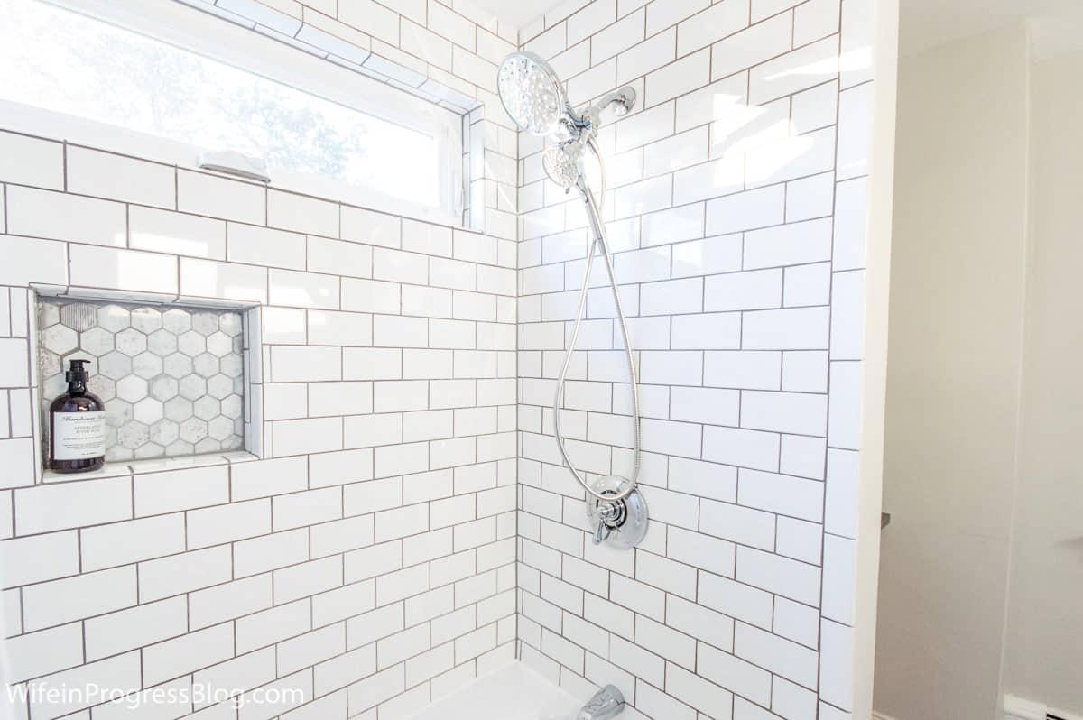 tile bathroom shower with shower head