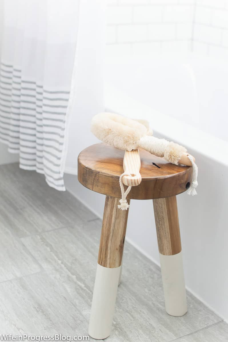 Stool next to bathtub