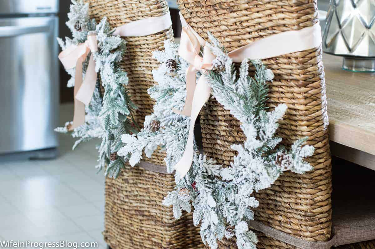 simple Christmas decorations - wreaths on chairs