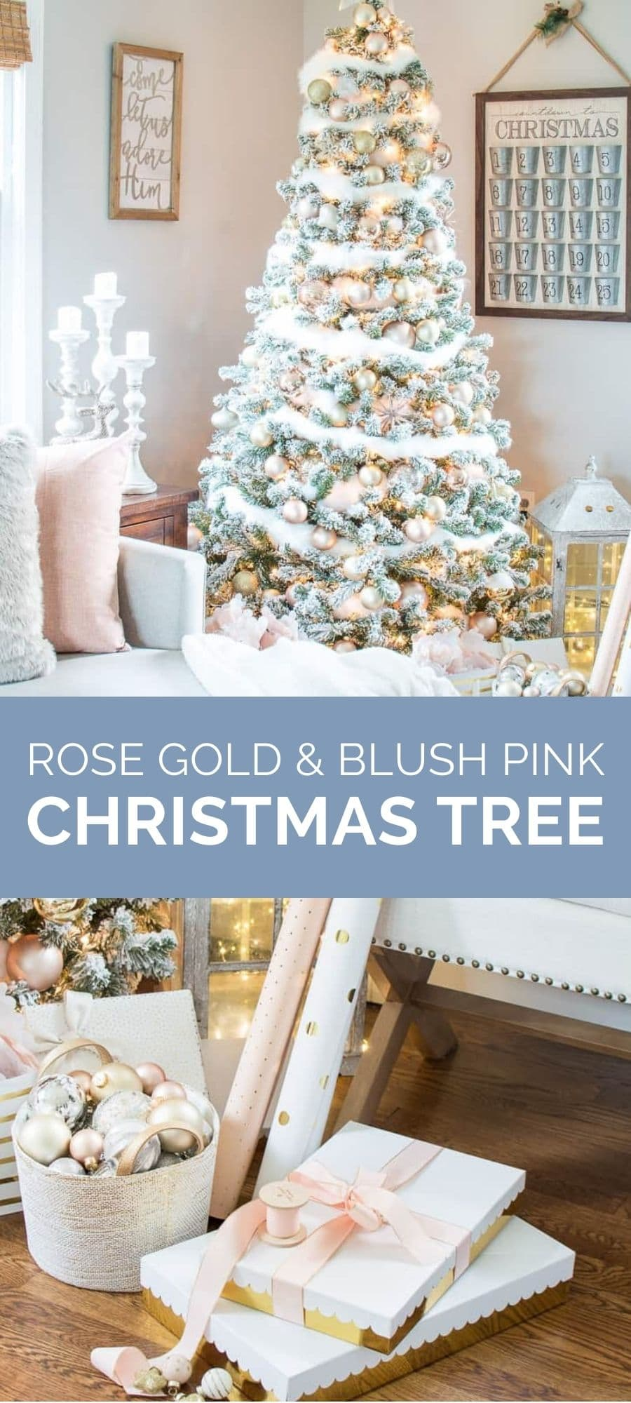rose gold and blush pink Christmas tree