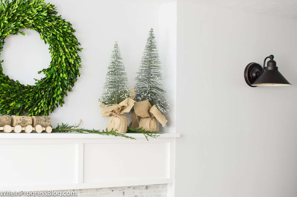 Burlap bristle brush trees for the perfect farmhouse Christmas touch