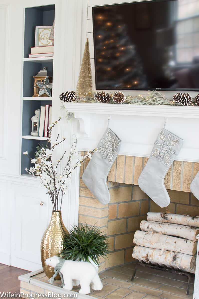 decorating a mantel with a TV above it. These are great Christmas decorating ideas for the home