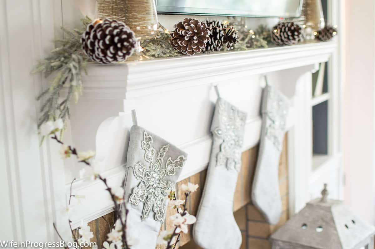 gold and silver Christmas mantel decor