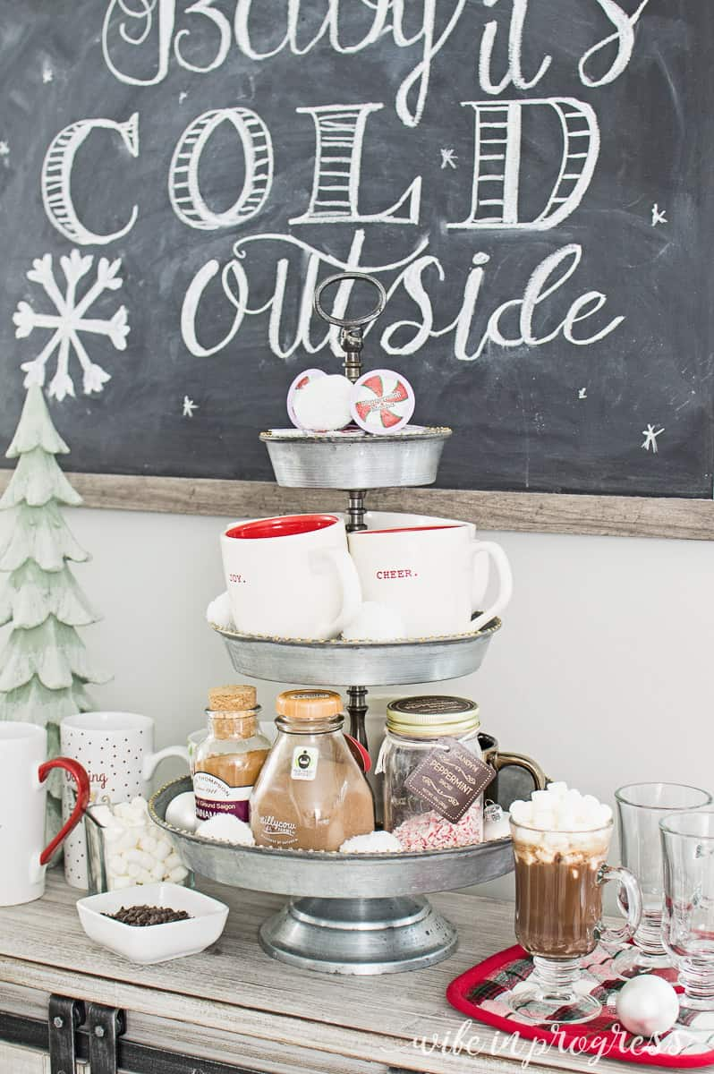 A quick setup for a last minute hot chocolate bar for Christmas