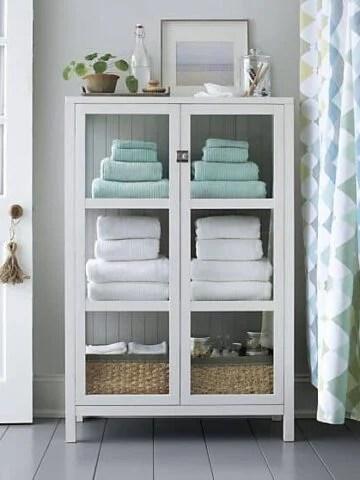 Fresh towels in linen closet
