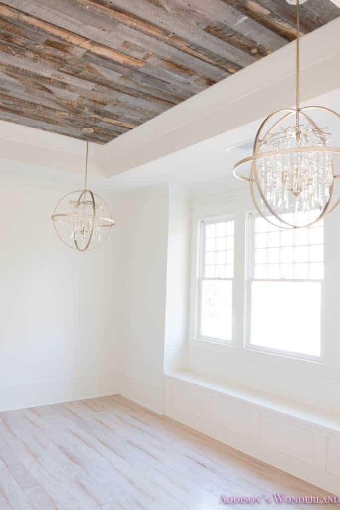 Rustic wood planks on the ceiling of a  new build house