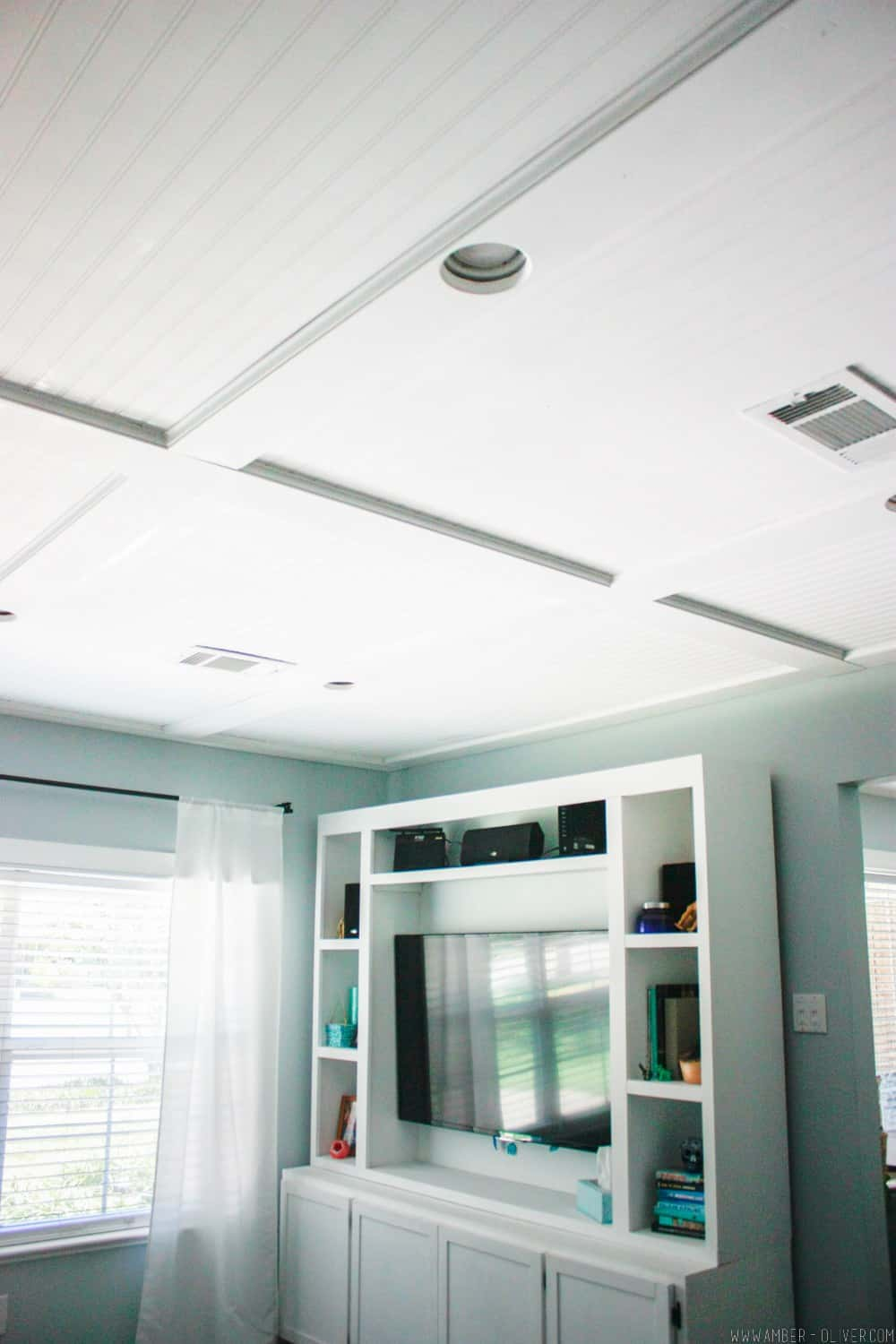 A bead board ceiling adds character and charm to a new home