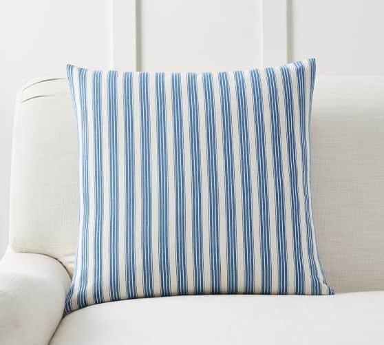 Blue ticking stripe pillow for spring