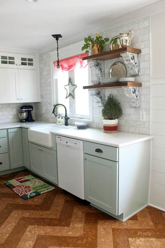corbels on shelves in a kitchen add charm