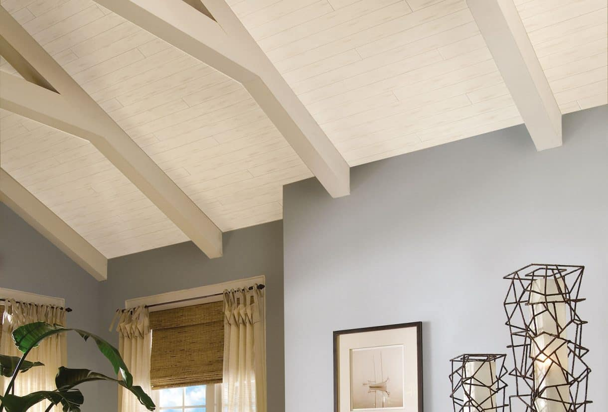 Add interest to the fifth wall (the ceiling) with a wood plank product