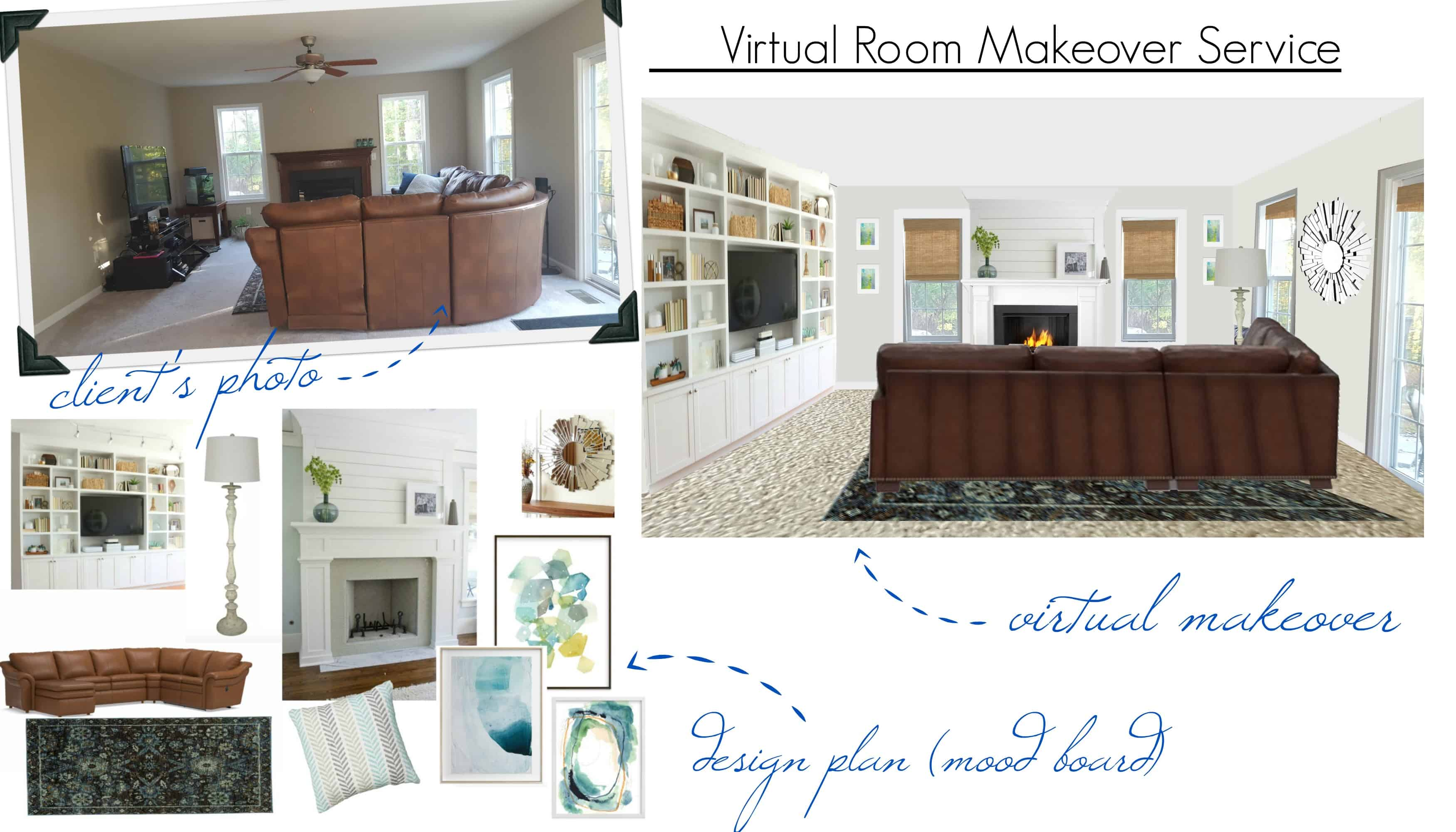 Virtual room makeover before and after