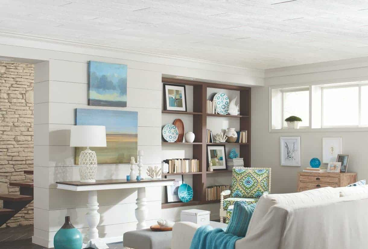 White wood planked ceiling