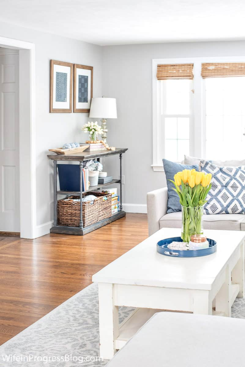 Living room with navy blue and green. Good decorating ideas