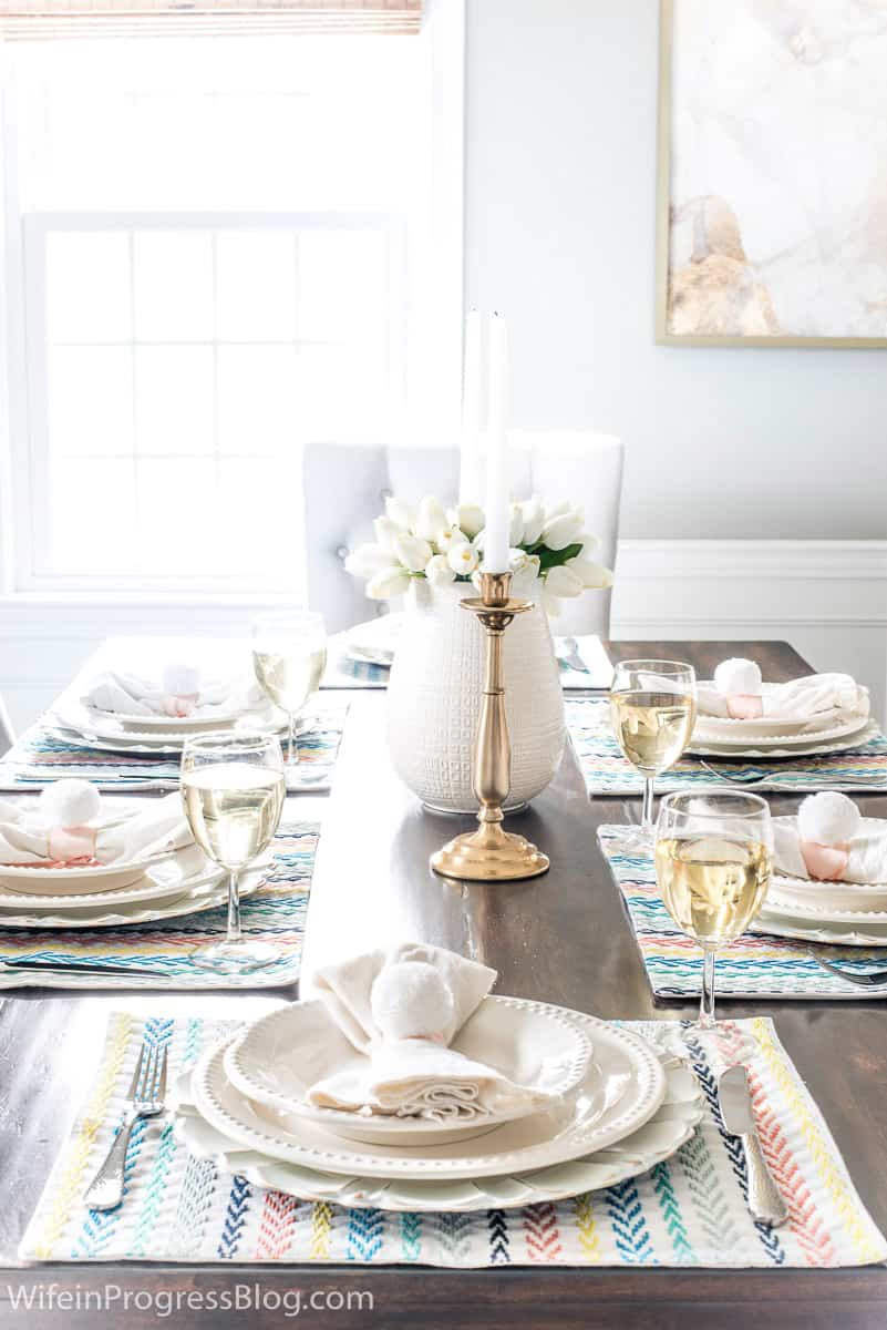 spring tablescape with Easter bunny tail napkin rings