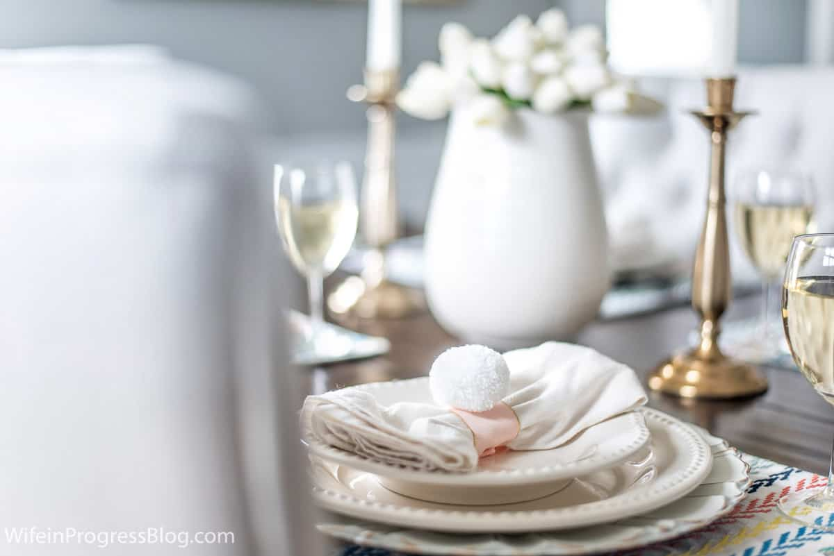 Easter table decor and DIY napkin rings