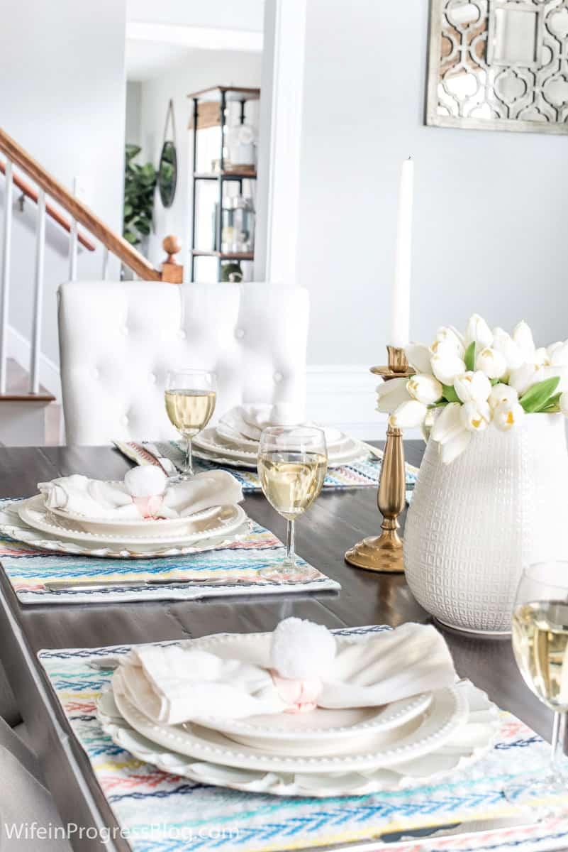 Simple but elegant Easter tablescape with DIY bunny tail napkin rings
