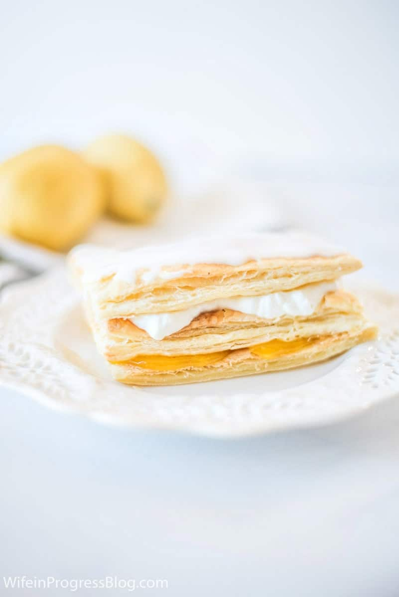 If you have extra lemons and want to make a sweet treat, these lemon curd napoleons with puff pastry and freshly whipped cream are simple to make
