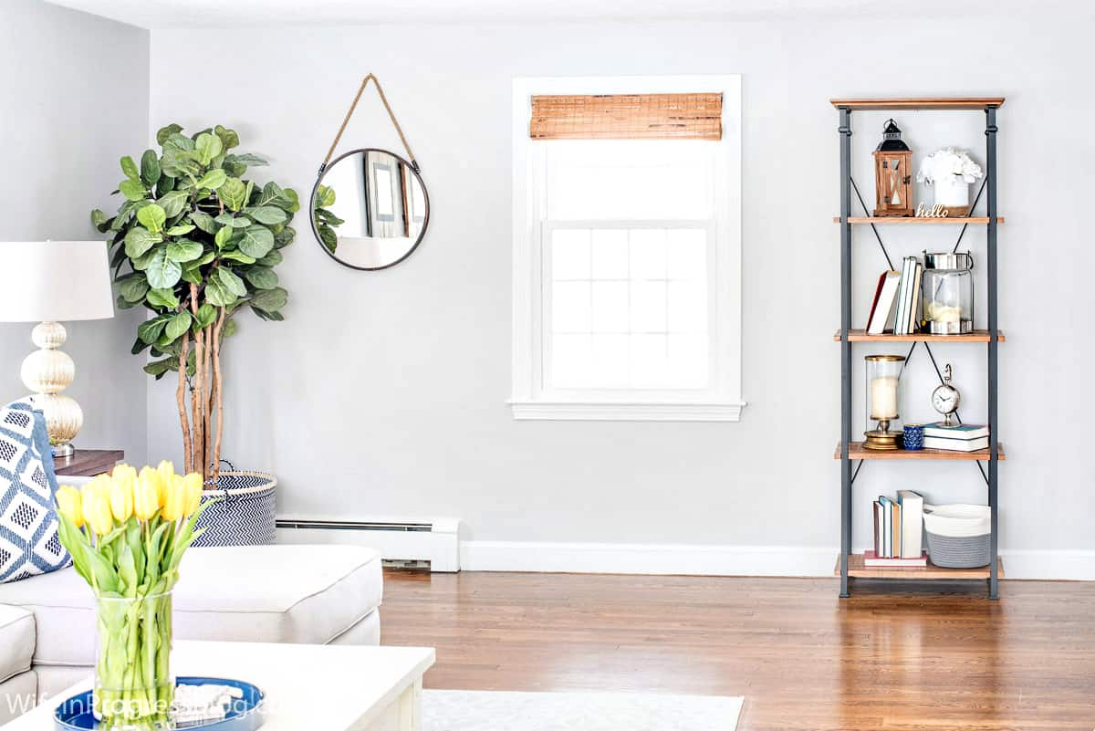 decorating ideas for blue and green in a living room with gray paint color