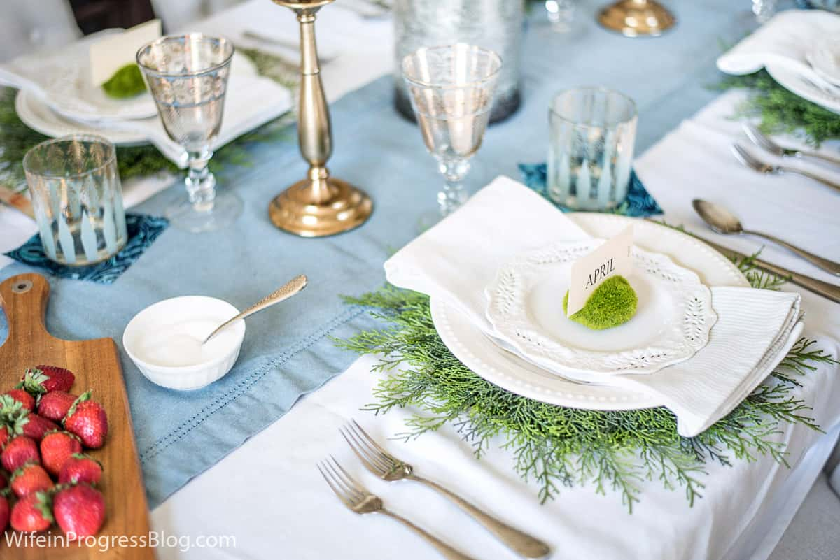 Spring place setting with greenery