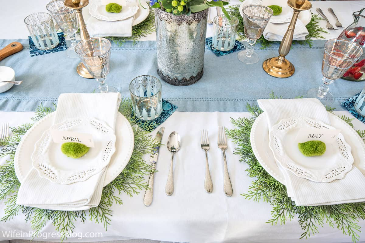 spring tablescape with with DIY decorations