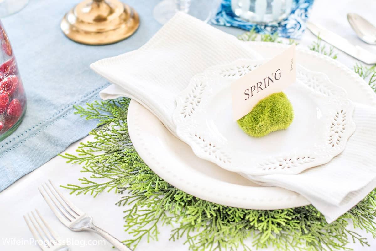 Moss vase filler table setting for spring