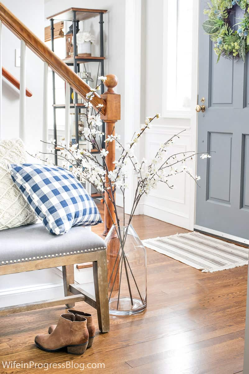 Decorating with branches in the entryway