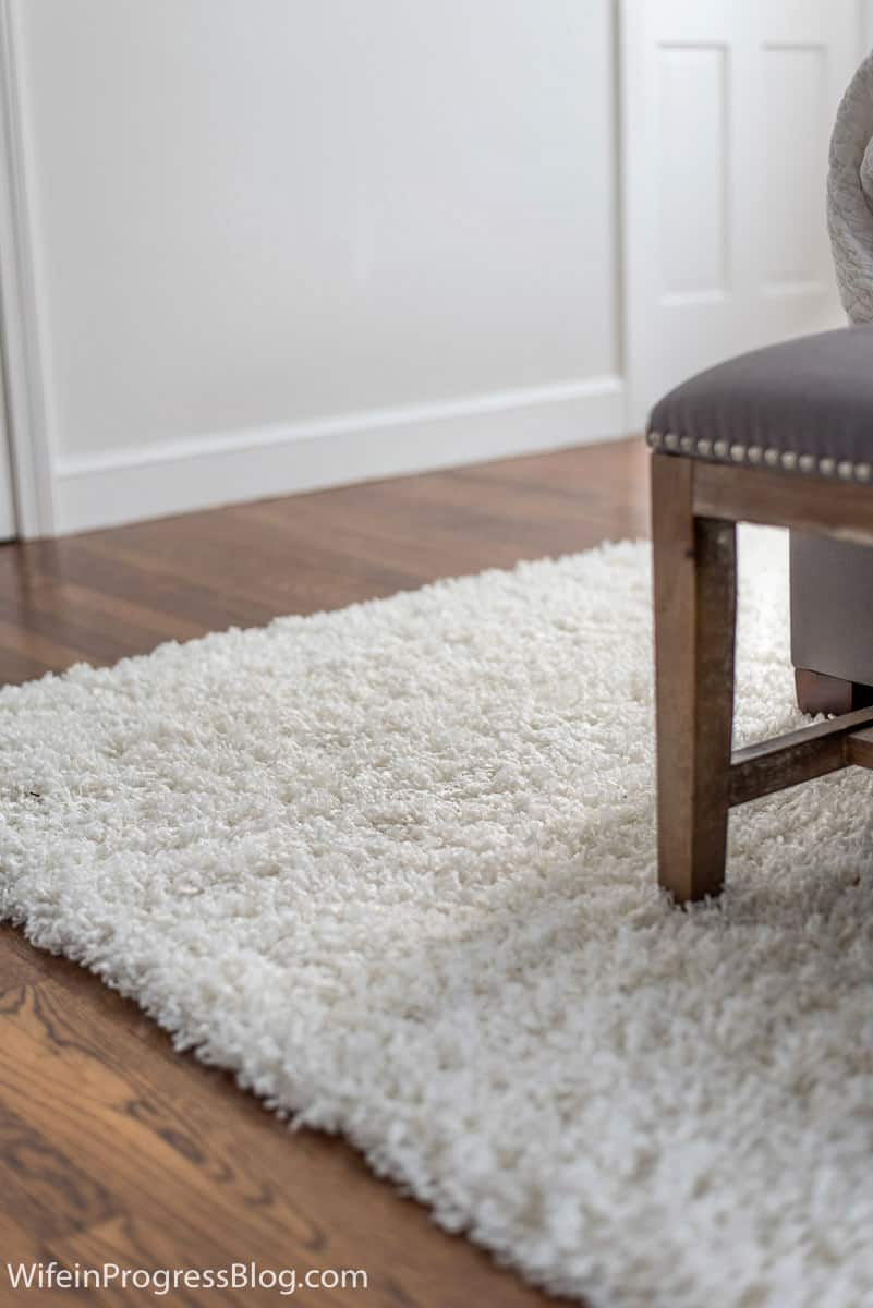 A good idea for a small master bedroom is to add a shag carpet in a neutral color for added texture.