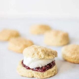 Irish buttermilk scones filled with clotted cream and jam